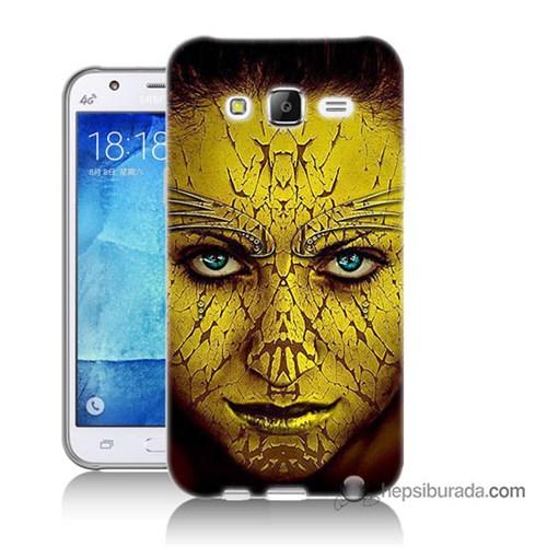Teknomeg Samsung Galaxy J5 Kapak Kılıf Sarı Kız Baskılı Silikon