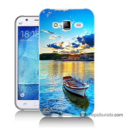 Teknomeg Samsung Galaxy J7 Kılıf Kapak Gün Batımında Deniz Baskılı Silikon