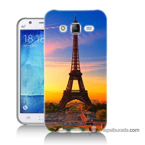 Teknomeg Samsung Galaxy J7 Kapak Kılıf Eyfelde Gün Batımı Baskılı Silikon