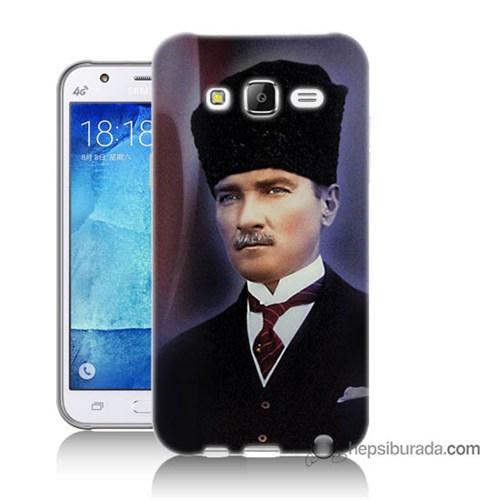 Teknomeg Samsung Galaxy J7 Kılıf Kapak Mustafa Kemal Atatürk Baskılı Silikon