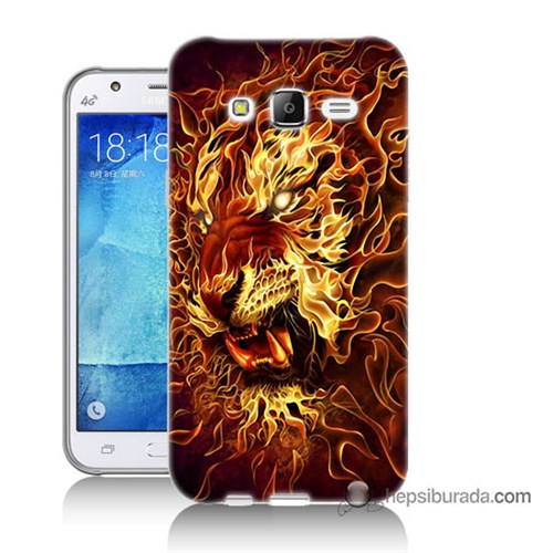 Teknomeg Samsung Galaxy J7 Kılıf Kapak Ateşli Aslan Baskılı Silikon