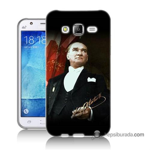 Teknomeg Samsung Galaxy J7 Kapak Kılıf M.K.Atatürk Baskılı Silikon