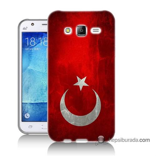 Teknomeg Samsung Galaxy J7 Kılıf Kapak Türkiye Bayrağı Baskılı Silikon