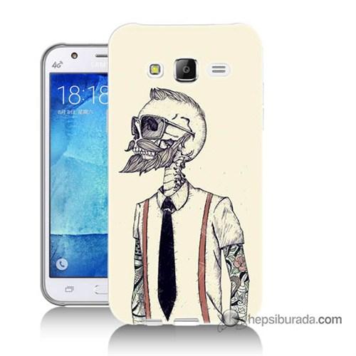 Teknomeg Samsung Galaxy J7 Kapak Kılıf Dövmeli İskelet Baskılı Silikon