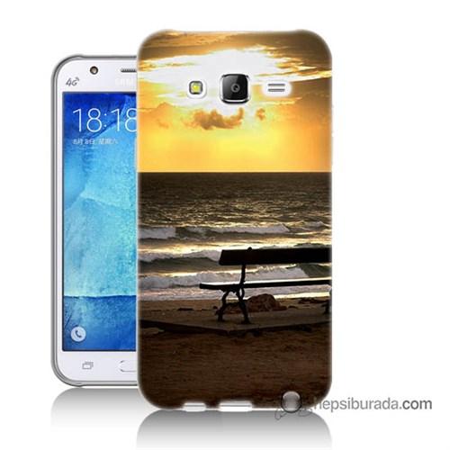 Teknomeg Samsung Galaxy J7 Kılıf Kapak Gün Batımı Baskılı Silikon