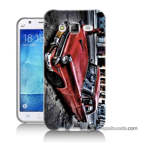 Teknomeg Samsung Galaxy J7 Kılıf Kapak Klasik Araba Baskılı Silikon