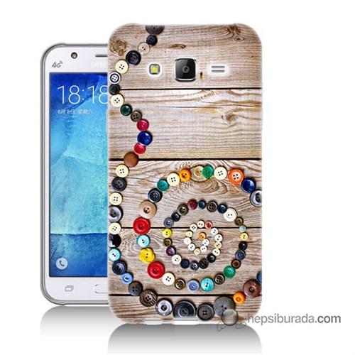 Teknomeg Samsung Galaxy J7 Kapak Kılıf Düğmeler Baskılı Silikon