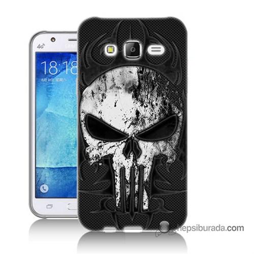 Teknomeg Samsung Galaxy J7 Kapak Kılıf Punnisher Kurukafa Baskılı Silikon