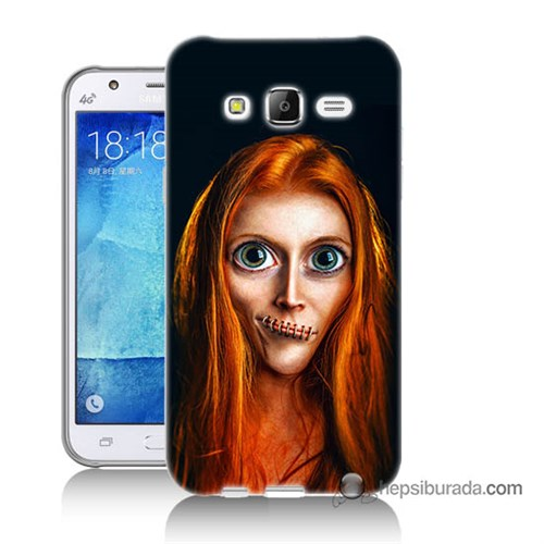 Teknomeg Samsung Galaxy J7 Kılıf Kapak Zombie Kız Baskılı Silikon
