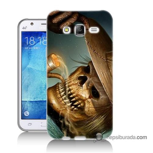 Teknomeg Samsung Galaxy J7 Kapak Kılıf Pipolu Kurukafa Baskılı Silikon