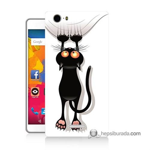 Teknomeg Casper Via M1 Kılıf Kapak Kara Kedi Baskılı Silikon