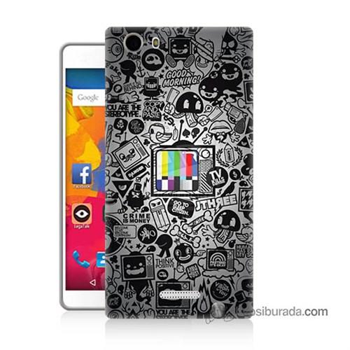 Teknomeg Casper Via M1 Kapak Kılıf Renkli Tv Baskılı Silikon
