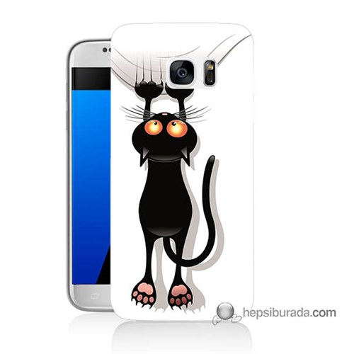 Teknomeg Samsung Galaxy S7 Kılıf Kapak Kara Kedi Baskılı Silikon