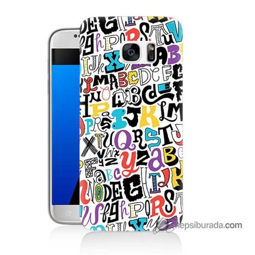 Teknomeg Samsung Galaxy S7 Kılıf Kapak Renkli Harfler Baskılı Silikon