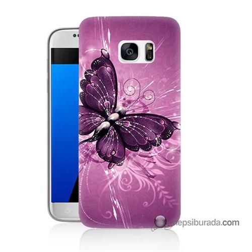 Teknomeg Samsung Galaxy S7 Kılıf Kapak Mor Kelebek Baskılı Silikon