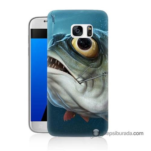 Teknomeg Samsung Galaxy S7 Kapak Kılıf Balık Baskılı Silikon