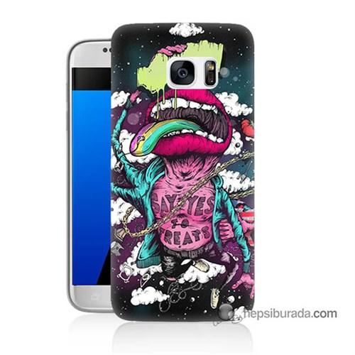 Teknomeg Samsung Galaxy S7 Kapak Kılıf Roling Stones Baskılı Silikon
