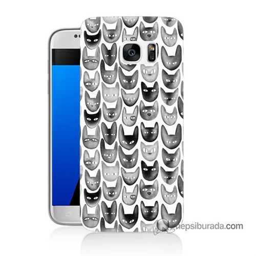 Teknomeg Samsung Galaxy S7 Kapak Kılıf Kediler Baskılı Silikon