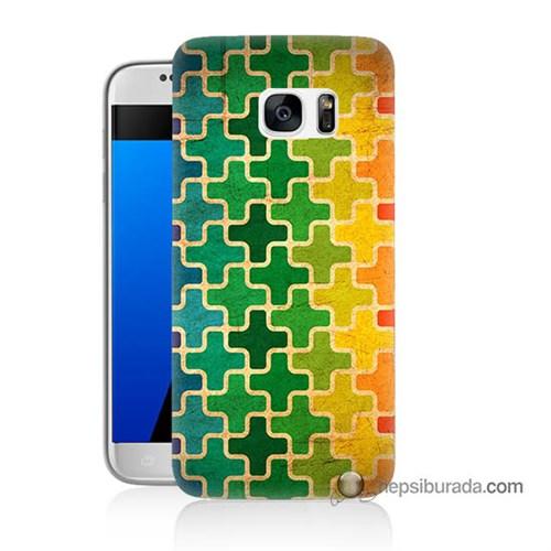 Teknomeg Samsung Galaxy S7 Kapak Kılıf Renkli Artı Baskılı Silikon