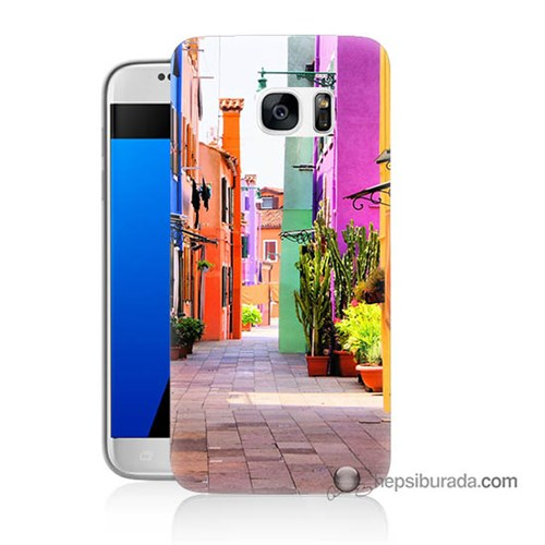 Teknomeg Samsung Galaxy S7 Kılıf Kapak Sokak Baskılı Silikon