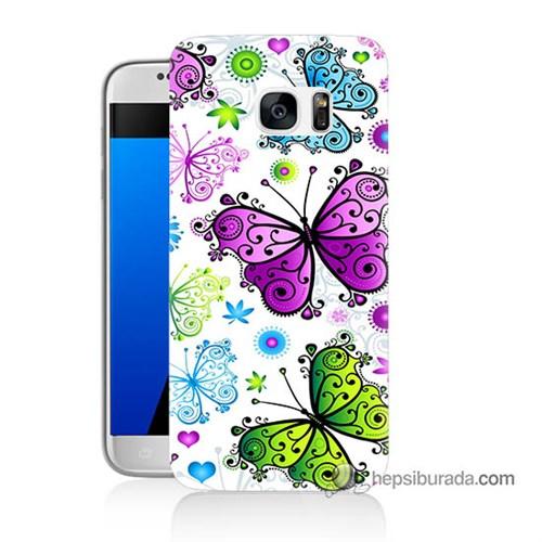 Teknomeg Samsung Galaxy S7 Kapak Kılıf Renkli Kelebekler Baskılı Silikon