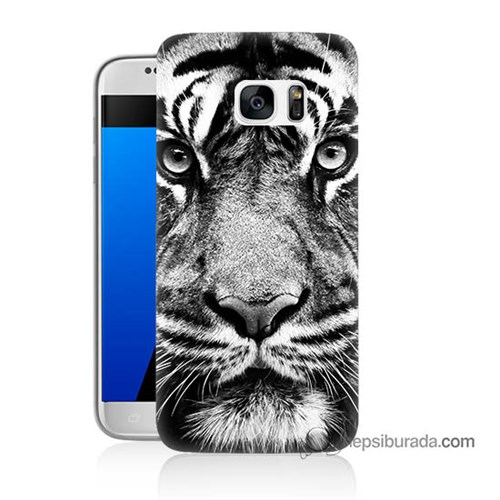 Teknomeg Samsung Galaxy S7 Kapak Kılıf Kaplan Baskılı Silikon