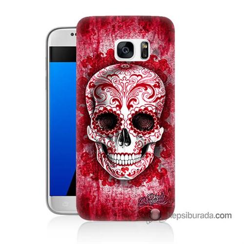 Teknomeg Samsung Galaxy S7 Kılıf Kapak Kırmızı İskelet Baskılı Silikon