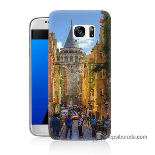 Teknomeg Samsung Galaxy S7 Kapak Kılıf Galata Kulesi Baskılı Silikon