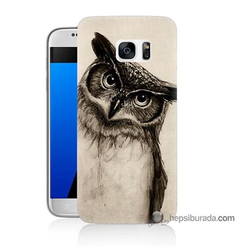 Teknomeg Samsung Galaxy S7 Kılıf Kapak Düşünen Baykuş Baskılı Silikon