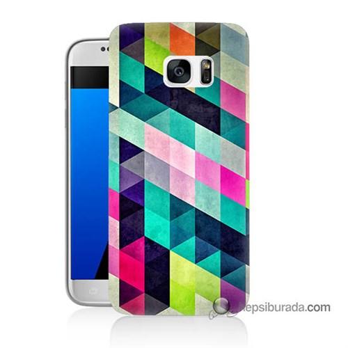Teknomeg Samsung Galaxy S7 Kılıf Kapak Mozaikler Baskılı Silikon