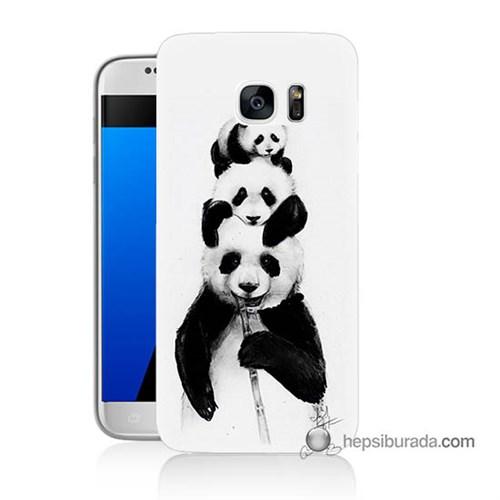 Teknomeg Samsung Galaxy S7 Kapak Kılıf Panda Ailesi Baskılı Silikon