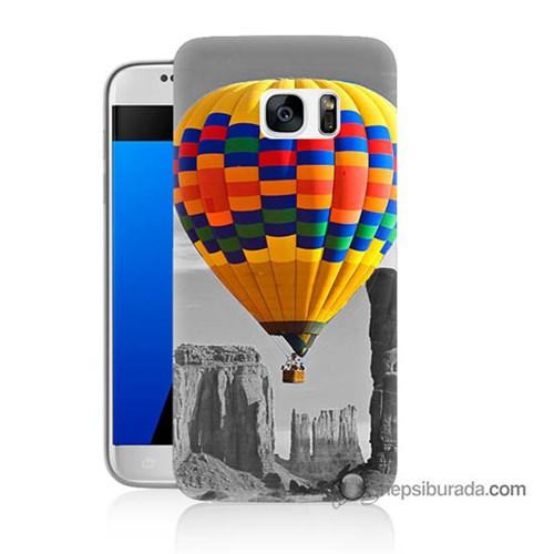 Teknomeg Samsung Galaxy S7 Kılıf Kapak Renkli Uçan Balon Baskılı Silikon
