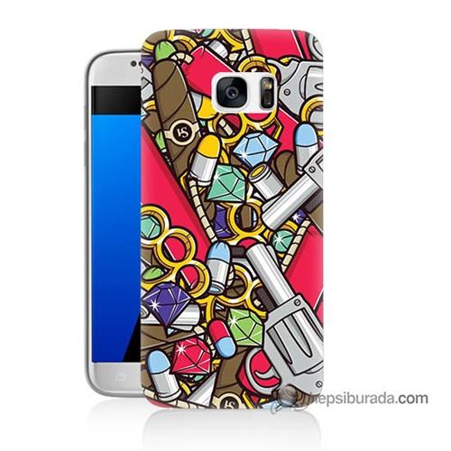 Teknomeg Samsung Galaxy S7 Kılıf Kapak Cephane Baskılı Silikon