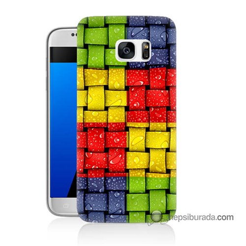 Teknomeg Samsung Galaxy S7 Kılıf Kapak Renkli Sargılar Baskılı Silikon