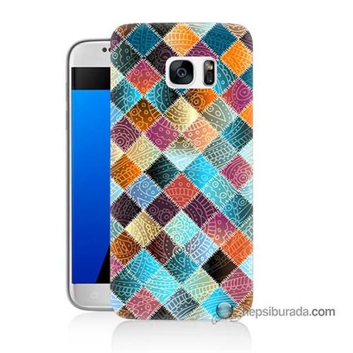 Teknomeg Samsung Galaxy S7 Kılıf Kapak Kırkyama Baskılı Silikon