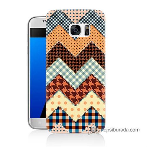Teknomeg Samsung Galaxy S7 Kapak Kılıf Patchwork Baskılı Silikon