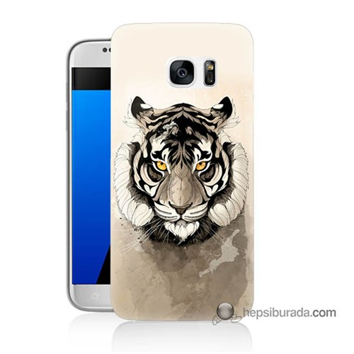 Teknomeg Samsung Galaxy S7 Kapak Kılıf Beyaz Aslan Baskılı Silikon