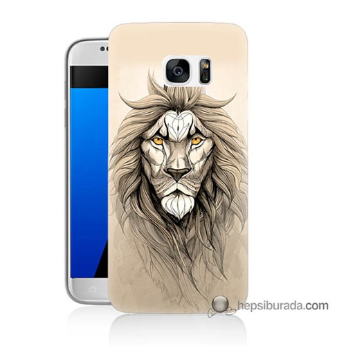 Teknomeg Samsung Galaxy S7 Kılıf Kapak Beyaz Aslan Baskılı Silikon