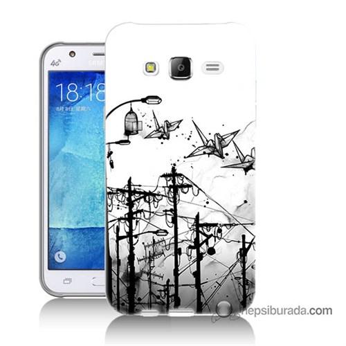 Teknomeg Samsung Galaxy J5 Kapak Kılıf Origami Baskılı Silikon