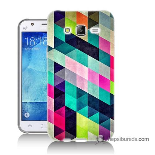 Teknomeg Samsung Galaxy J5 Kılıf Kapak Mozaikler Baskılı Silikon