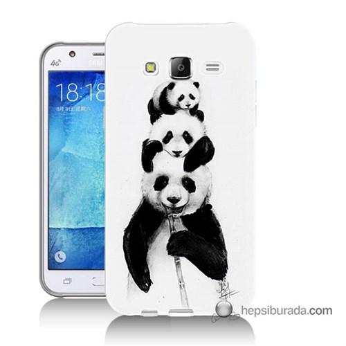 Teknomeg Samsung Galaxy J5 Kapak Kılıf Panda Ailesi Baskılı Silikon