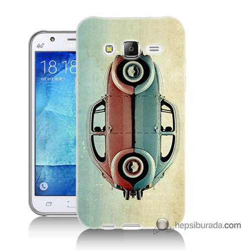Teknomeg Samsung Galaxy J5 Kılıf Kapak Mavi Kırmızı Wolkswagen Baskılı Silikon