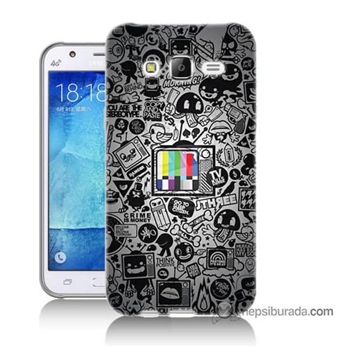 Teknomeg Samsung Galaxy J5 Kapak Kılıf Renkli Tv Baskılı Silikon