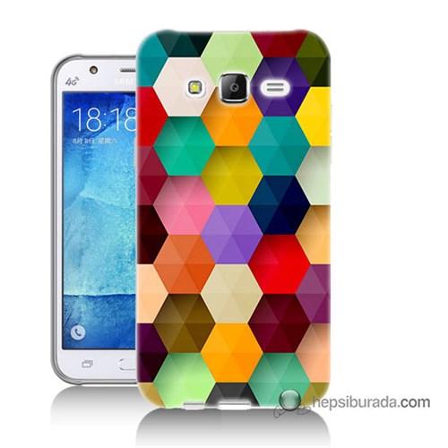 Teknomeg Samsung Galaxy J5 Kapak Kılıf Renkli Petek Baskılı Silikon
