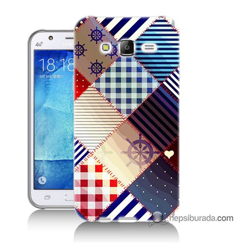 Teknomeg Samsung Galaxy J5 Kapak Kılıf Patchwork Baskılı Silikon