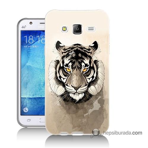 Teknomeg Samsung Galaxy J5 Kapak Kılıf Beyaz Aslan Baskılı Silikon