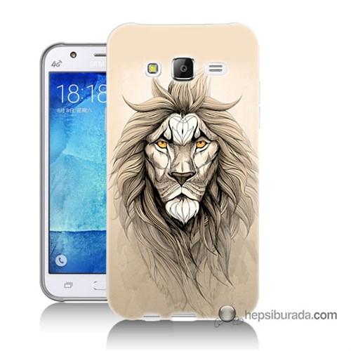 Teknomeg Samsung Galaxy J5 Kılıf Kapak Beyaz Aslan Baskılı Silikon