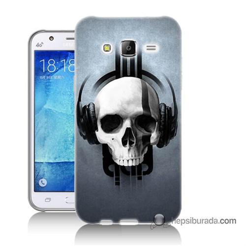 Teknomeg Samsung Galaxy J5 Kılıf Kapak Müzik Dinleyen Kurukafa Baskılı Silikon