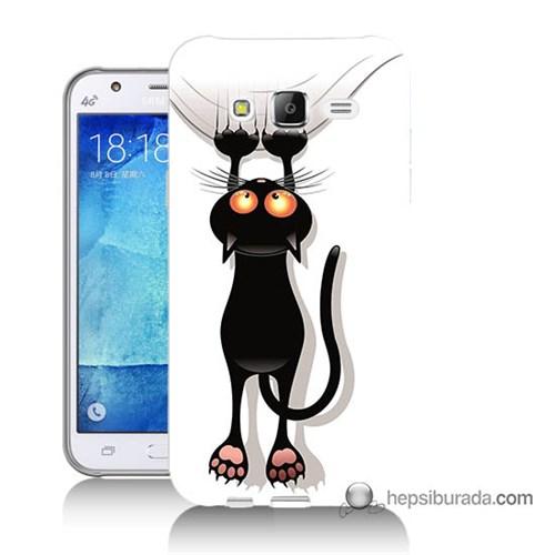 Teknomeg Samsung Galaxy J7 Kılıf Kapak Kara Kedi Baskılı Silikon