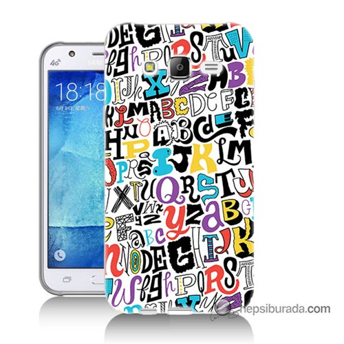 Teknomeg Samsung Galaxy J7 Kılıf Kapak Renkli Harfler Baskılı Silikon